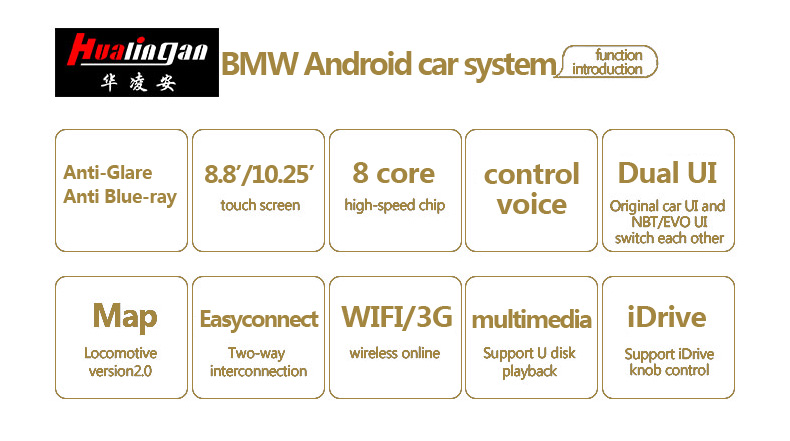 Hualingan For BMW 5 series CIC system 8.8 inch Android car multimedia system MTK Core 4G internet 64G storage WIFI Carplay
